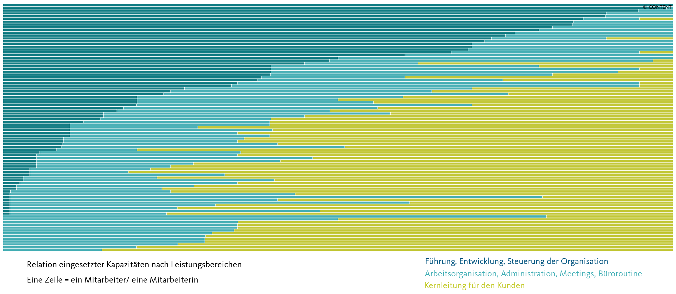 Relation eingesetzte Kapazitäten nach Leistungsbereichen im Detail